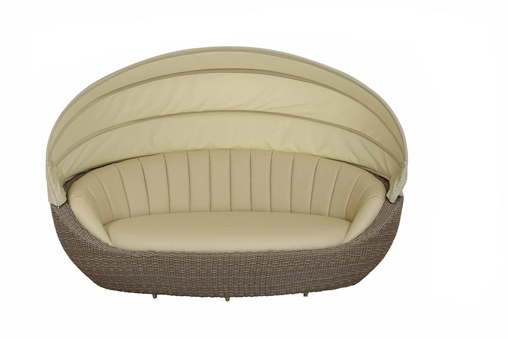 liegeinsel parador in grey cane mit yachtleder bezug. Black Bedroom Furniture Sets. Home Design Ideas