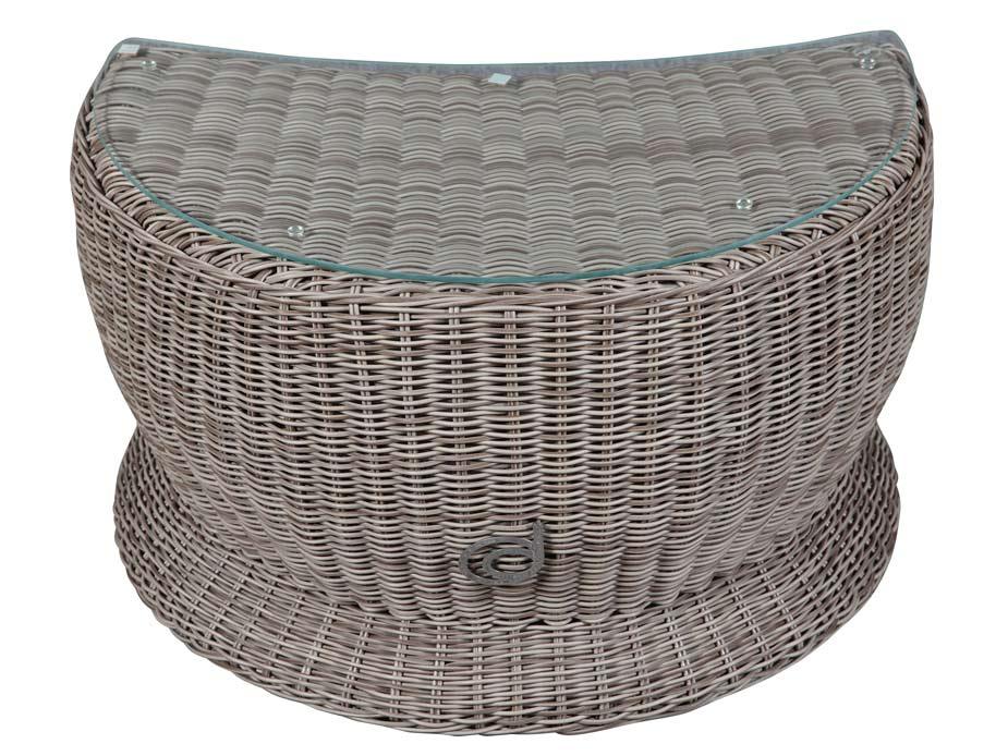 Paradiso Beistelltisch Cubu Taupe Mit Glasplatte Lounge Hocker Tisch
