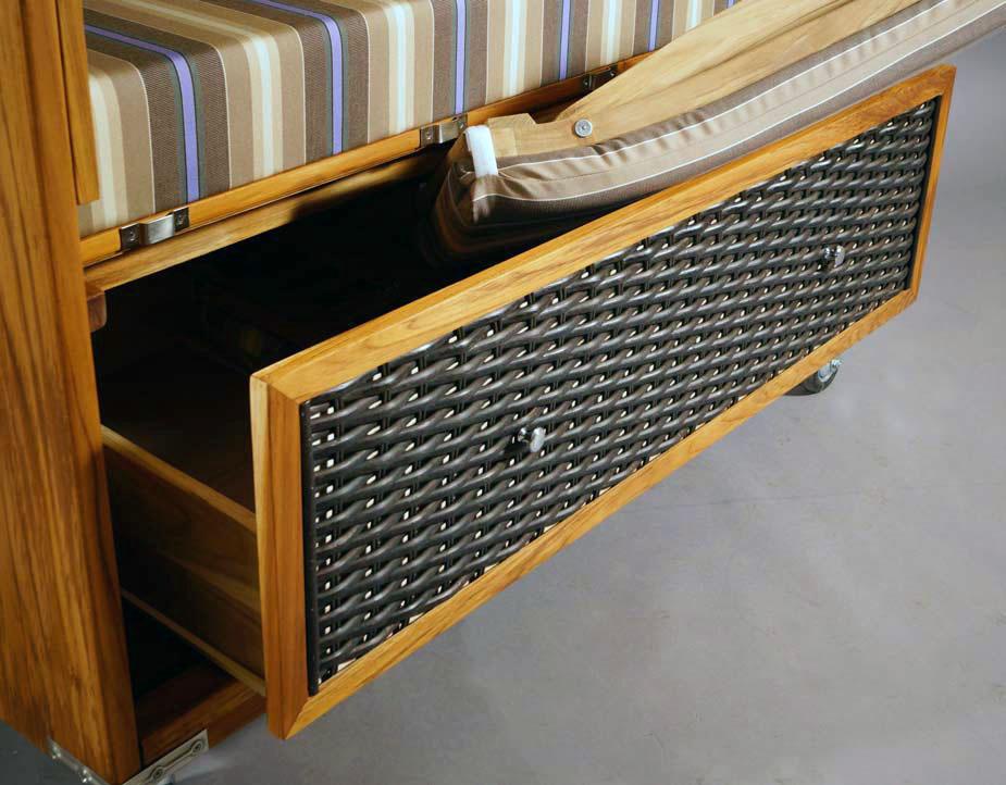 strandkorb kampen 2 sitzer mocca duo teakholz polyrattan. Black Bedroom Furniture Sets. Home Design Ideas